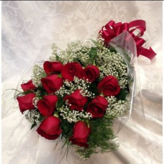 Wrapped Roses with baby\'s breath